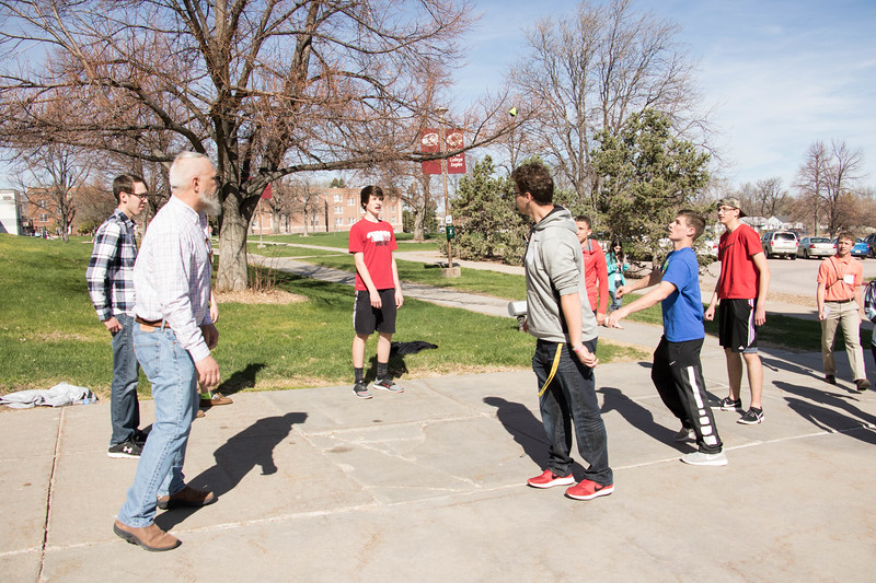 Attendees of Chadron State College's Annual Scholastic Day enjoy a game of hacky sack, Friday, April 7, 2017. (Photo by Tena L. Cook/Chadron State College)