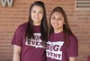 Aliya Uddin, an online CSC student, left, drove from Sheridan, Wyoming, to Chadron to help her friend Jazmin Perez, right, with the Social Work ice cream social at Crest View during The Big Event Saturday, April 22, 2017. (Photo by Tena L. Cook/Chadron State College)