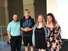 Chadron State College English professor Dr. Lee Miller, left, poses with winners of the Summer Upward Bound program's writing contest. From left, London Gillam of Crawford, Neb., Tilie Vaughn of Alliance, Neb., and Emily Beye of Chadron. (Ashten McConnell photo)