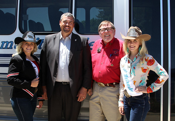 Two Chadron State College alumni pose during the Miss Rodeo Nebraska Pageant in North Platte, Neb. in June 2017. From left, Miss Rodeo Nebraska 2017 Laramie Schlichtemeier and Mid-Plains Community College president Ryan Purdy. They are joined by Chuck Salestrom, MPCC area vice president of public information and marketing, and Taylor Fugate, Miss Teen Rodeo Nebraska 2016. (Photo courtesy MPCC)