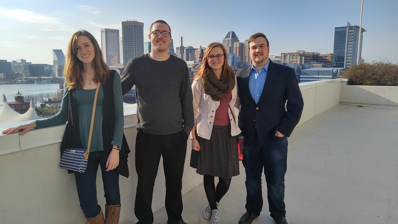 Chadron State College students pose at the Music Teachers National Association convention in Baltimore March 17-21, 2017. From left, Donica Enevoldsen of Potter, Neb., Allen Kissack of Sidney, Neb., Kallie Bush of Kimball, Neb., and Aydin Mack of Alliance, Neb. Not pictured: Carrie Lundberg. (Courtesy photo)