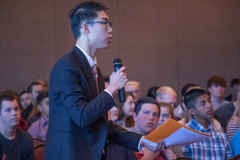 Chadron State College student Kevin Zhang asks a question of the Nebraska Court of Appeals Tuesday, April 11, 2017, in the Student Center Ballroom. (Photo by Tena L. Cook/Chadron State College)