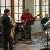Forrest Holso, with saxophone, is accompanied during his senior recital Saturday, April 1, 2017, by other musicians, from left, Clinton Albertus, Nick Brooks and Jack Royals. (Photo by Alex Coon/Chadron State College)