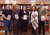 Student editors of the Tenth Street Miscellany, from left, Shaniya DeNaeyer of Valentine, Neb., Will Morgan of Fort Collins, Colo., Stephanie Gardener of Chadron, editor-in-chief, Alyssa Ermish of Wall, S.D., and Zane Hesting of Burr Oak, Kan. Not pictured: Kaitlin Macke, art editor. (Photo by Tena L. Cook/Chadron State College)