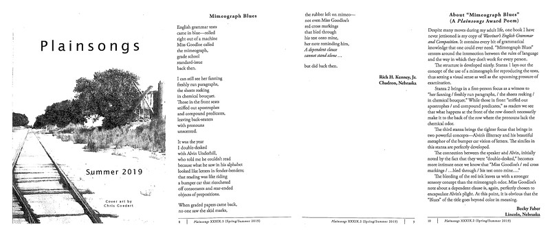 """""""Mimeograph Blues"""" a poem by Chadron State College social work professor Rich Kenney that was published in the Summer 2019 edition of Plainsongs Literary Journal, a poetry magazine produced by Hastings College Press. (Image used with permission)"""