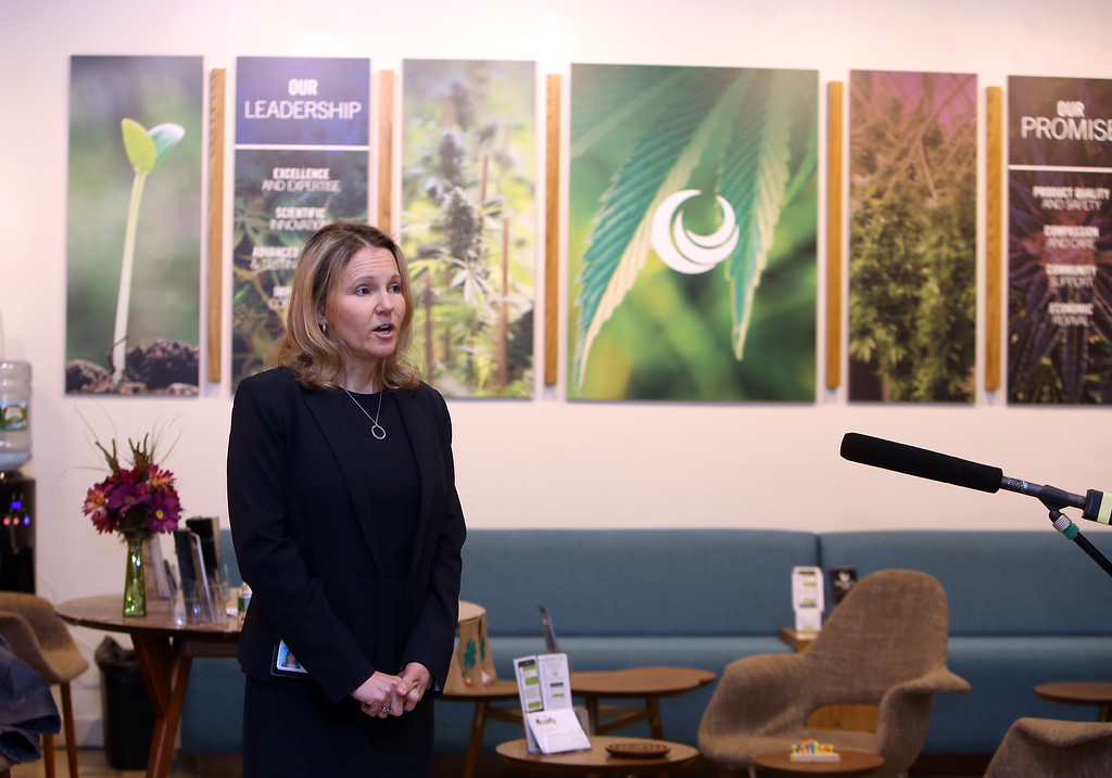 . First day of adult use recreational marijuana sales at Patriot Care in Lowell. Patriot Care chief risk officer and general counsel Mary-Alice Miller speaks to reporters. (SUN Julia Malakie)