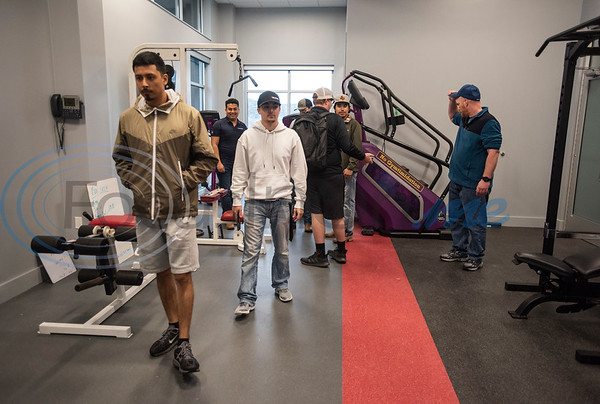 People tour the workout room during the grand opening of the relocated Tyler Fire Station No. 4 on Monday, Feb. 3, 2020 at 7445 Cherryhill Drive.  (Sarah A. Miller/Tyler Morning Telegraph)