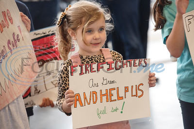 Jack Elementary School student Ella Wood, 5, holds a sign during the grand opening of the relocated Tyler Fire Station No. 4 on Monday, Feb. 3, 2020 at 7445 Cherryhill Drive.  (Sarah A. Miller/Tyler Morning Telegraph)