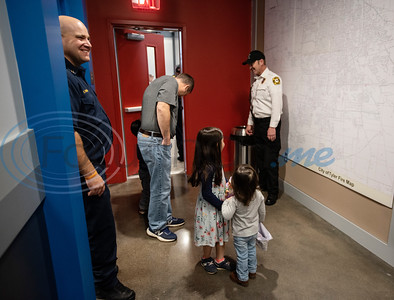Captain Zach Powers, at left, smiles as people tour the relocated Tyler Fire Station No. 4 on Monday, Feb. 3, 2020 at 7445 Cherryhill Drive.  (Sarah A. Miller/Tyler Morning Telegraph)