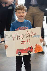 Jack Elementary School student Jason Kleinman, 6, holds a sign during the grand opening of the relocated Tyler Fire Station No. 4 on Monday, Feb. 3, 2020 at 7445 Cherryhill Drive.  (Sarah A. Miller/Tyler Morning Telegraph)