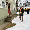 KRISTOPHER RADDER — BRATTLEBORO REFORMER<br /> U.S. Rep. Peter Welch, D-Vt., delivers heating fuel to a Brattleboro resident as part of the Vermont Fuel Dealers Association's Split the Ticket Program on Friday, Dec. 13, 2019. The resident received 144 gallons of fuel through the program.