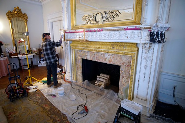 Repairing the fireplace at Ventfort Hall - 030917