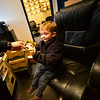 KRISTOPHER RADDER — BRATTLEBORO REFORMER<br /> Winchester Police Officer Bryan Jalava gives a patch to Jax Labby, 5, of Hinsdale, during a tour on Tuesday, Oct. 20, 2018.
