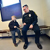 KRISTOPHER RADDER — BRATTLEBORO REFORMER<br /> Members of the Winchester, N.H., Police Department surprise 5-year-old Jax Labby with a new Big Wheel on Tuesday, Oct. 30, 2018, after his Big Wheel was stolen.