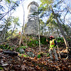 KRISTOPHER RADDER — BRATTLEBORO REFORMER<br /> Brian Post operates the winch as it drags a cap back up to the base of the Retreat Tower on Thursday, Nov. 21, 2019.