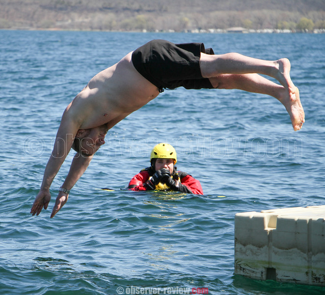 The 12th annual polar bear plunge at the Anchor Inn and Marina Tiki Bar on Seneca Lake, Saturday, April 25.