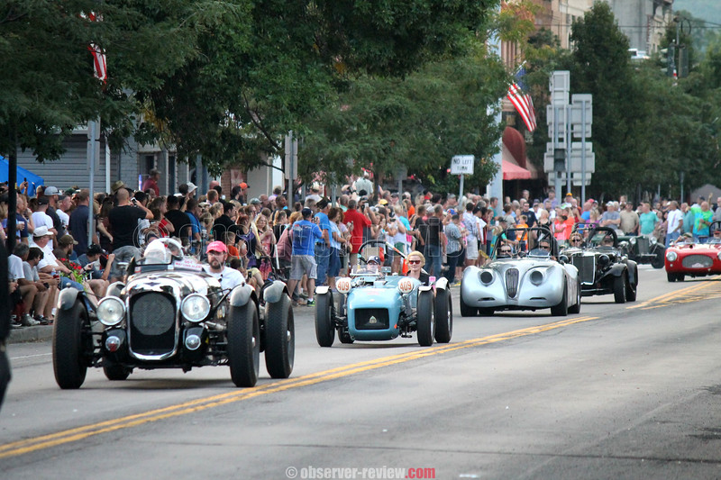 Police cleared the streets of sectators for the annual running of the Sportscar Vintage Racing Asociation's (SVRA) Watkins Glen Heritage Tour parade laps on the original circuit Friday, Sept. 9 at the Watkins Glen Grand Prix Festival.