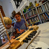 KRISTOPHER RADDER — BRATTLEBORO REFORMER<br /> Wilder Smith and Connor Noyes Urffer paint a ship together during a week-long Summer Art Camp at the River Gallery School of Art on Thursday, Aug. 8, 2019.