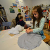 KRISTOPHER RADDER — BRATTLEBORO REFORMER<br /> Hayden Sprague works on sewing a pillow during a week-long Summer Art Camp at the River Gallery School of Art on Thursday, Aug. 8, 2019.