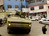 Brazilian marines in an armoured vehicle patrol a street of the Rocinha shantytown, Rio de Janeiro, Brazil, November 13, 2011. (Austral Foto/Renzo Gostoli)