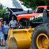 KRISTOPHER RADDER — BRATTLEBORO REFORMER<br /> Angela Montano, Peter Higgins, and Bill Farnsworth talk as they view at some of the vehicles on display at the Waypoint Center, in Bellows Falls, during the annual Rockingham Old Home Days on Saturday, Aug. 3, 2019.