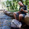 "Kerry Grimes, of Lyons, plays his mandolin by the river on Thursday, July 26, at the Rocky Grass Academy in Lyons. For more photos and video of the academy go to  <a href=""http://www.dailycamera.com"">http://www.dailycamera.com</a><br /> Jeremy Papasso/ Camera"