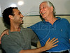 "Ronald Biggs of England celebrates with his son Mike after obtain from Brazilian authorities the permanent residence in Brazil without the danger of to be extraditated to United Kingdom,  Rio de Janeiro, Brazil, November 12, 1997. The ""Great Train Robber"" departed Brazil May 6, 2001 after living in Rio for 31 years. After suffering three strokes, the frail Biggs departed Rio enroute to England aboard a private jet chartered by ""The Sun"" newspaper of England. (Austral Foto/Renzo Gostoli)"