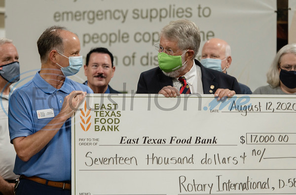 Rotary International District 5830, which encompasses Rotary clubs in Northeast Texas and Southeast Oklahoma presented a $17,000 grant to the East Texas Food Bank. Pictured from left: East Texas Food Bank CEO Dennis Cullinane and Jim Finstrom of Rotary Club of Jefferson.