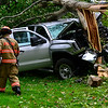 KRISTOPHER RADDER - BRATTLEBORO REFORMER<br /> Members of the Brattleboro Fire Department, Chesterfield Fire Department, Spofford Fire Department, and Chesterfield Police Department responded to a single vehicle crash on Route 9 in Chesterfield, N.H., around5 p.m.onTuesday, Aug. 29, 2017.<br /> <br /> Chesterfield Police Officer Derek Jackson said the driver was traveling west on Route 9 before her vehicle left the road and crashed into a tree near Sto-Rite, a storage facility.<br /> <br /> The driver was transported to Brattleboro Memorial Hospital for unknown injuries. Cause of the crash is under investigation.<br />
