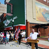 Globe/T. Rob Brown<br /> Patrick Tuttle speaks during the opening celebration and official unveiling of the Route 66 tile murals Friday afternoon, Aug. 2, 2013, for the Route 66 International Festival.