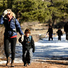 "Running River School Director Nancy Monson walks with kindergartner Harper Arenson-Pie during a school hike on Friday, Jan. 13, at the Shanahan Ridge Trail in Boulder. For a video of the hike go to  <a href=""http://www.dailycamera.com"">http://www.dailycamera.com</a><br />  Jeremy Papasso/ Camera"