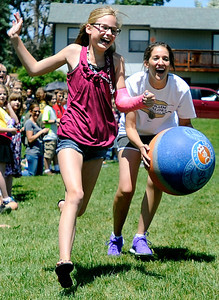 Ryan Elementary Kickball001.JPG Fifth grade student Krista Visscher gets tagged out on her way to first base by 5th grade teacher Kate Scholl during a kickball game on Thursday, May 24, at Ryan Elementary School in Lafayette. For more photos and video of the 5th grade vs. the teachers kickball game go to www.dailycamera.com Jeremy Papasso/ Boulder Daily Camera