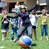 """Fifth grade teacher Holly Saltz kicks the ball as hard as she can during a kickball game on Thursday, May 24, at Ryan Elementary School in Lafayette. For more photos and video of the 5th grade vs. the teachers kickball game go to  <a href=""""http://www.dailycamera.com"""">http://www.dailycamera.com</a><br /> Jeremy Papasso/ Boulder Daily Camera"""