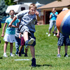 """Fifth grader Brayden Rizzi kicks the ball during a kickball game on Thursday, May 24, at Ryan Elementary School in Lafayette. For more photos and video of the 5th grade vs. the teachers kickball game go to  <a href=""""http://www.dailycamera.com"""">http://www.dailycamera.com</a><br /> Jeremy Papasso/ Boulder Daily Camera"""