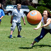 """English second language teacher Kha Xiong tries to make a catch during a kickball game on Thursday, May 24, at Ryan Elementary School in Lafayette. For more photos and video of the 5th grade vs. the teachers kickball game go to  <a href=""""http://www.dailycamera.com"""">http://www.dailycamera.com</a><br /> Jeremy Papasso/ Boulder Daily Camera"""