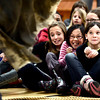 "From left to right Jasmine Kilpatrick, Molly Herz and Abby Weismann, recoil as Scott K. Leslie playing the monster Caliban, comes close at Douglass Elementary as part of the Colorado Shakespeare Festival's school anti-bullying tour based on ""The Tempest"" that focuses on themes of anti-violence and forgiveness on Thursday February 28, 2013. For more photos go to  <a href=""http://www.dailycamera.com"">http://www.dailycamera.com</a><br /> Photo by Paul Aiken"