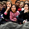 "From left to right Jasmine Kilpatrick, Molly Herz and Abby Weismann, look on at the Colorado Shakespeare Festival's actors at Douglass Elementary as part of the festival's school anti-bullying tour based on ""The Tempest"" that focuses on themes of anti-violence and forgiveness on Thursday February 28, 2013. For more photos go to  <a href=""http://www.dailycamera.com"">http://www.dailycamera.com</a><br /> Photo by Paul Aiken"