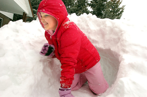 Grace Mosleley, 6, crawls out of a snow tunnel in her front yard on Laurel Street in Broomfield during the February 3rd snowstorm on Friday.<br /> February 3, 2012<br /> staff photo/ David R. Jennings