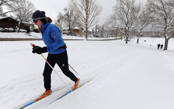 "Elizabeth Pike takes advantage of the heavy snow by cross country skiing at North Boulder Park on Friday.<br /> For a video of the snow, go to  <a href=""http://www.dailycamera.com"">http://www.dailycamera.com</a>.<br /> Cliff Grassmick / February 3, 2012"
