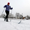 "Catherine Greener was one of the first to cross country ski in North Boulder Park.<br /> For more photos of the snow, go to  <a href=""http://www.dailycamera.com"">http://www.dailycamera.com</a>.<br /> Cliff Grassmick / November 2, 2011"