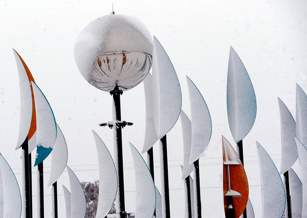 "The public art sculpture near Longmont gets a new snowy look.<br /> For more photos of the snow, go to  <a href=""http://www.dailycamera.com"">http://www.dailycamera.com</a>.<br /> Cliff Grassmick / November 2, 2011"