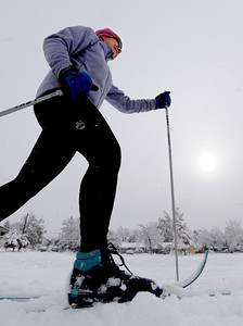 Catherine Greener was one of the first to cross country ski in North Boulder Park. For more photos of the snow, go to www.dailycamera.com. Cliff Grassmick / November 2, 2011
