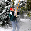 Gene Kleinow knocks the snow off low hanging branches outside his Boulder home Wednesday morning.<br /> Photo by Paul Aiken