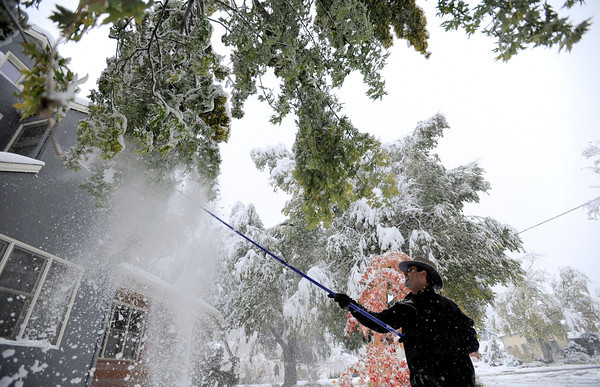 John Kay knocks snow from the sagging branches on a tree in his yard after the snow storm in Boulder, Colorado October 26, 2011.  CAMERA/Mark Leffingwell