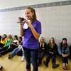 """Sorority member Molly Williams, takes photos of a group of bidding CU students at the Glenn Miller Ballroom on the CU Boulder Campus Wednesdy evening on Sorority Bid Day. FOR MORE PHOTOS AND A VIDEO OF BID DAY GO TO  <a href=""""http://WWW.DAILYCAMERA.COM"""">http://WWW.DAILYCAMERA.COM</a><br /> Photo by Paul Aiken / The Camera / September 7, 2011"""