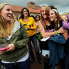 "Meeting with their sorority group, Logan Dougherty, left and Kailee Carata right are  welcomed by Alpha Chi Omega sorority member Britini Haggard, center in front of the University Memorial Center on the CU Boulder Campus Wednesdy evening on Sorority Bid Day. FOR MORE PHOTOS AND A VIDEO OF BID DAY GO TO  <a href=""http://WWW.DAILYCAMERA.COM"">http://WWW.DAILYCAMERA.COM</a><br /> Photo by Paul Aiken / The Camera / September 7, 2011"
