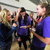 "Zoe Calvin, left jokes with sorority members Caitlin Carlson, left and Molly Williams as the two hold the envelopes that will give Calvin her sorority assignment in the Glenn Miller Ballroom on the CU Boulder Campus Wednesdy evening on Sorority Bid Day. FOR MORE PHOTOS AND A VIDEO OF BID DAY GO TO  <a href=""http://WWW.DAILYCAMERA.COM"">http://WWW.DAILYCAMERA.COM</a><br /> Photo by Paul Aiken / The Camera / September 7, 2011"