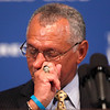 NASA Administrator Charles Bolden pauses after he spoke about friends lost following Space Shuttle accidents, Friday, July 1, 2011, at the National Press Club in Washington. (AP Photo/Charles Dharapak)