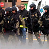SWAT team members leave the scene of a standoff at Boulder Community Hospital on Monday April 4, 2011.<br /> Photo by Paul Aiken