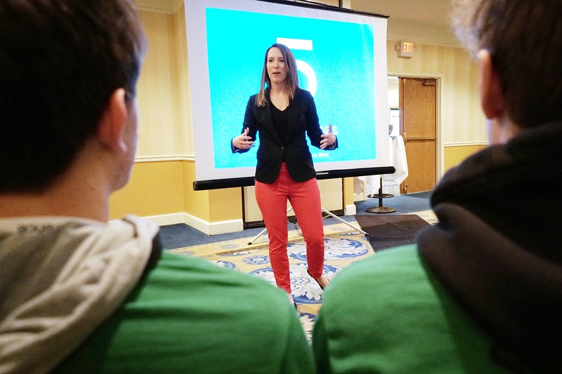"BEN GARVER — THE BERKSHIRE EAGLE<br /> Rebecca White delivers a talk entitled ""five Simple Guidelines"" about finding strength through adversity. White lost her mother and best friend in an accident with an impaired driver. The talk was part of STRIVE (Students Teaching Respect Integrity Values and Equality) at the Pittsfield Plaza Hotel."